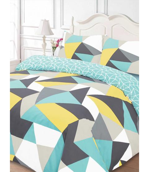 Shapes Geometric Single Duvet Cover and Pillowcase Set - Blue