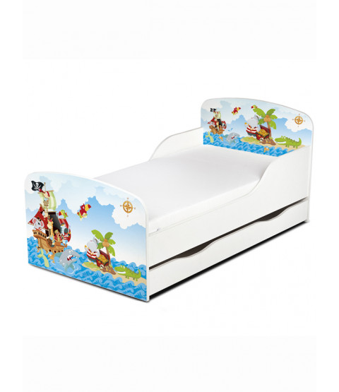 PriceRightHome Pirates Toddler Bed with Underbed Storage with Deluxe Foam Mattress