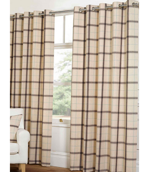Belle Maison Lined Eyelet Curtains - Plaid Check Range, Natural