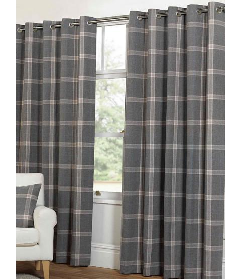 Belle Maison Lined Eyelet Curtains - Plaid Check Range, Grey