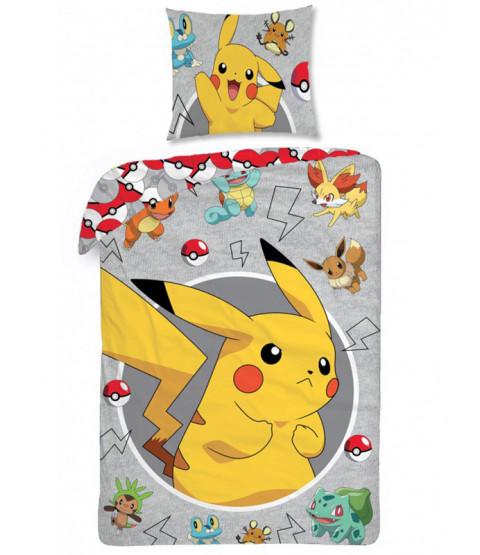 Pokémon Grey Single Cotton Duvet Cover and Pillowcase Set