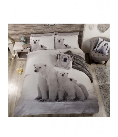 Polar Bear Family King Size Duvet Cover and Pillowcase Set