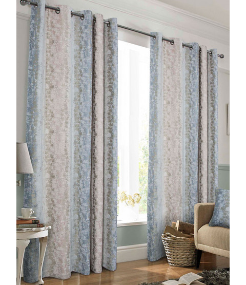Belle Maison Lined Eyelet Curtains, Portofino Range, 46x72 Blush