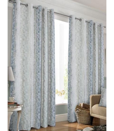 Belle Maison Lined Eyelet Curtains, Portofino Range, 46x72 Blue