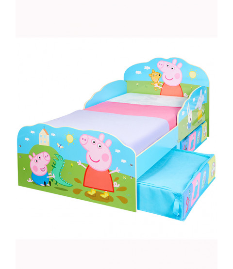 Peppa Pig Toddler Bed with Storage and Sprung Mattress