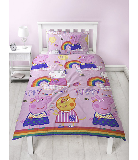 Peppa Pig Hooray Single Duvet Cover and Pillowcase Set