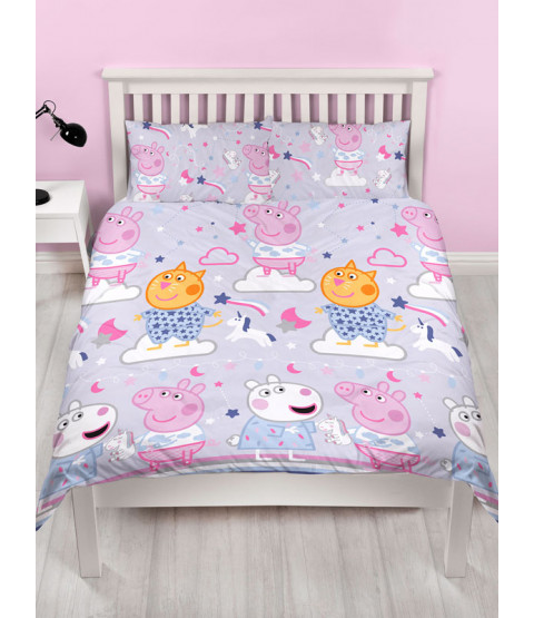 Peppa Pig Sleepy Double Duvet Cover and Pillowcase Set