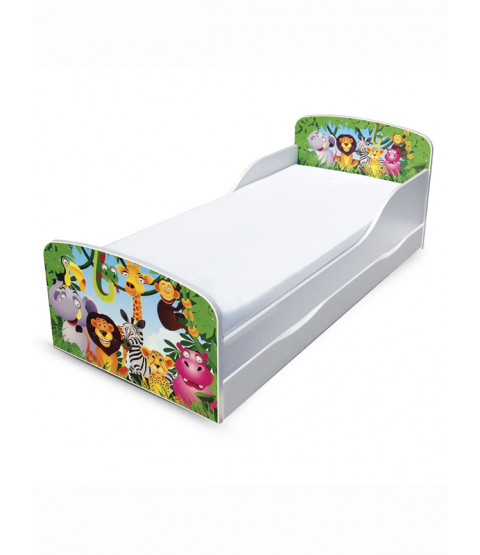 Jungle Toddler Bed with Underbed Storage and Foam Mattress