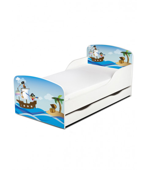PriceRightHome Pirates Exclusive Design Toddler Bed with Underbed Storage with Foam Mattress