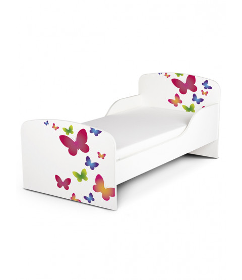 Butterflies Toddler Bed with Deluxe Foam Mattress