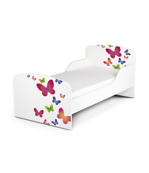 Butterflies Toddler Bed with Deluxe Foam Mattress