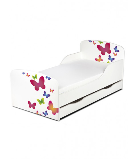 Butterflies Toddler Bed with Underbed Storage and Foam Mattress