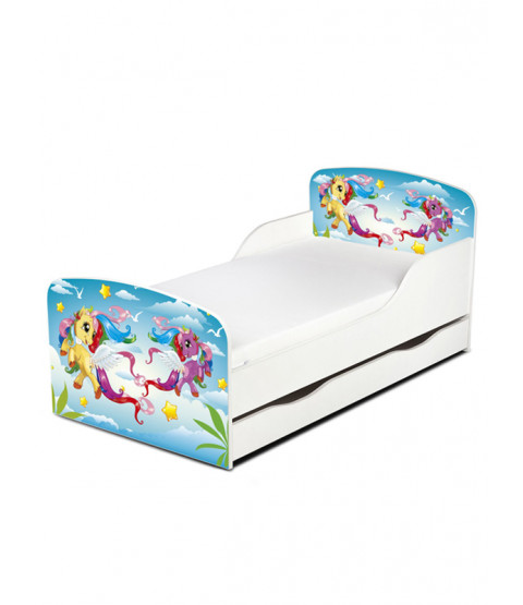 PriceRightHome Magical Pony Toddler Bed with Underbed Storage and Fully Sprung Mattress