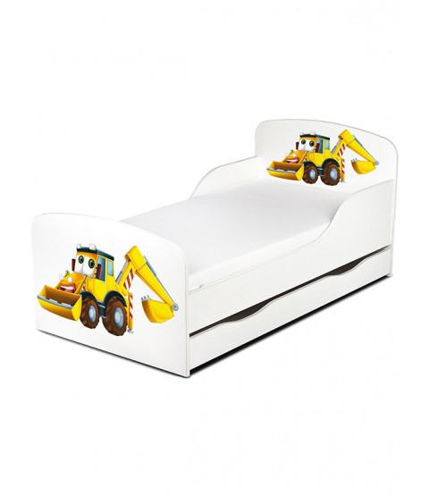Diggers Toddler Bed with Underbed Storage and Mattress
