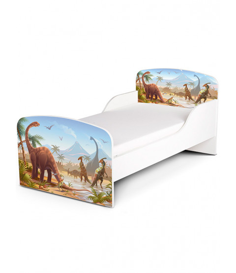PriceRightHome Jurassic Dinosaurs Toddler Bed plus Deluxe Foam Mattress