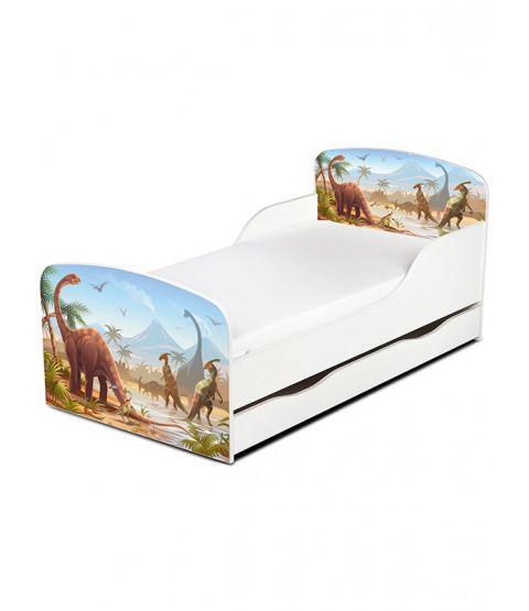 Dinosaur Toddler Bed with Underbed Storage and Sprung Mattress