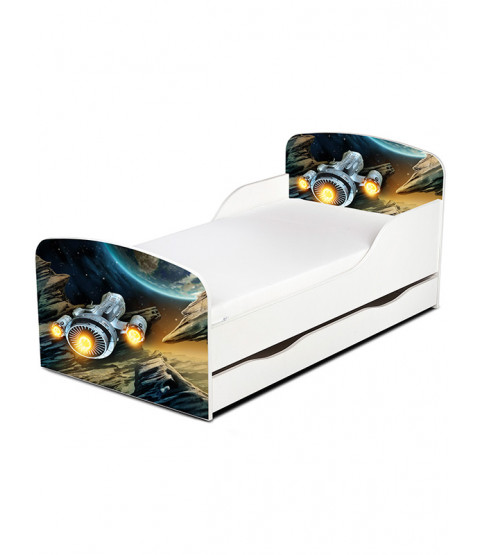 PriceRightHome Spaceship Toddler Bed with Underbed Storage