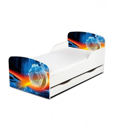 PriceRightHome Cama de fútbol para niños pequeños con almacenamiento debajo de la cama