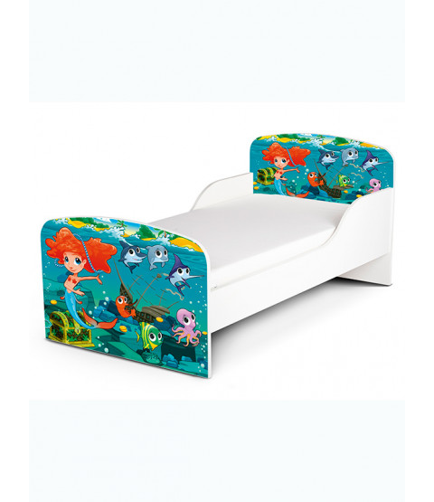Mermaid Toddler Bed with Foam Mattress