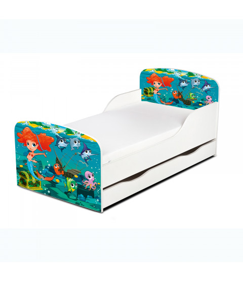 Mermaid Toddler Bed With Underbed Storage and Foam Mattress