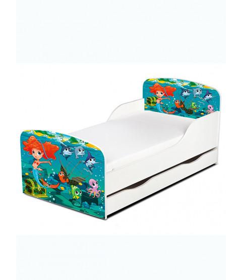 Lettino per sirena con contenitore sotto il letto e materasso in schiuma