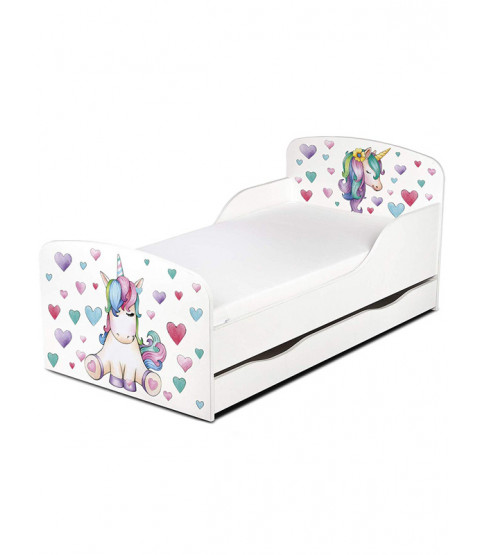 PriceRightHome Unicorn Toddler Bed with Underbed Storage plus Deluxe Foam Mattress