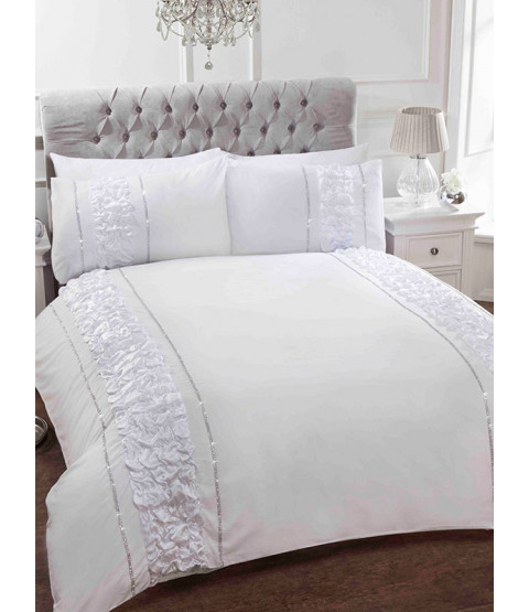 Provence White Double Duvet Cover and Pillowcase Set