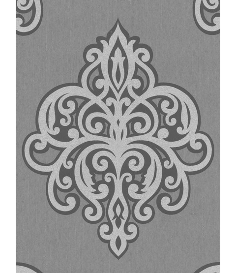 Opal Damask Glitter Wallpaper Grey and Silver P+S 02491-40