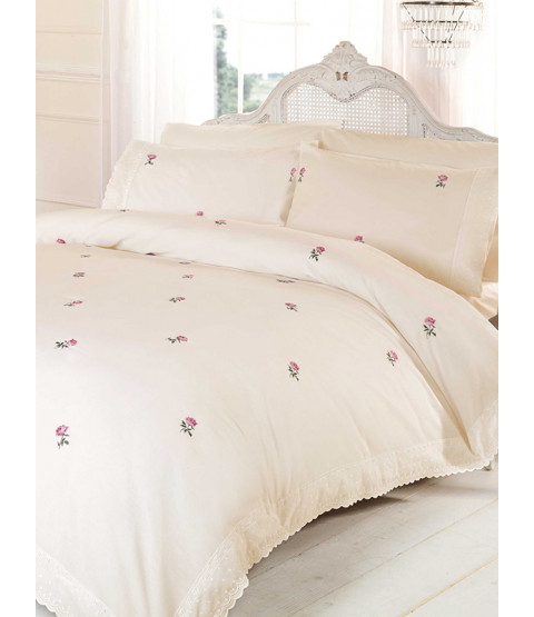 Alicia Floral Cream / Pink Duvet Cover and Pillowcase Set