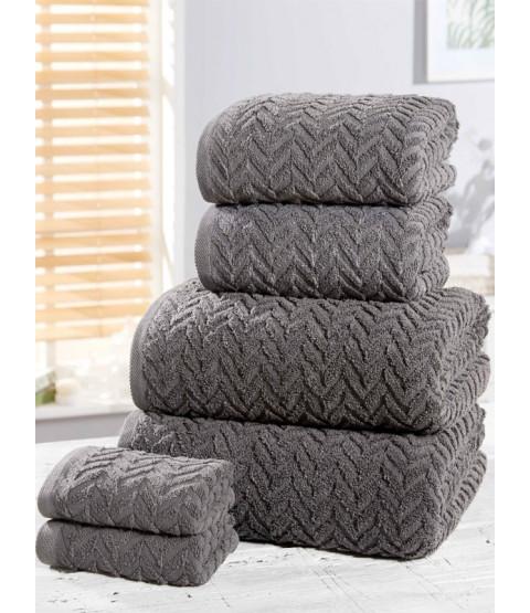 Herringbone 6 Piece Towel Bale Charcoal