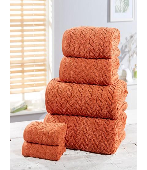 Herringbone 6 Piece Towel Bale Orange