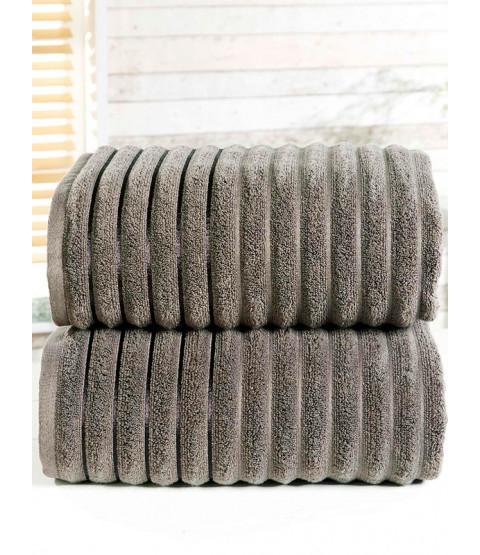 Asciugamano a coste 2 pezzi Carbone