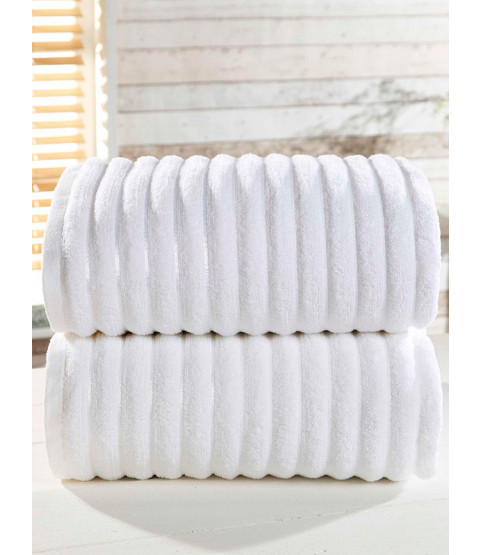 Ribbed Towel 2-PC White