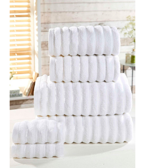 Ribbed Towel 6-PC White