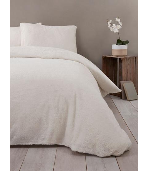 Snuggle Bedding Teddy Fleece Duvet Cover Set - Single, Cream