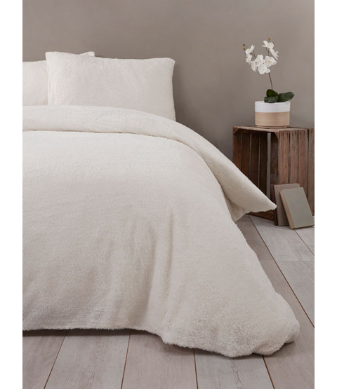 Snuggle Bedding Teddy Fleece Duvet Cover Set - Double, Cream