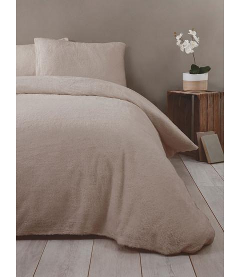 Snuggle Bedding Teddy Fleece Duvet Cover Set  - Double, Mink