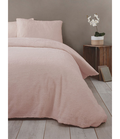 Snuggle Bedding Teddy Fleece Duvet Cover Set - Double, Blush