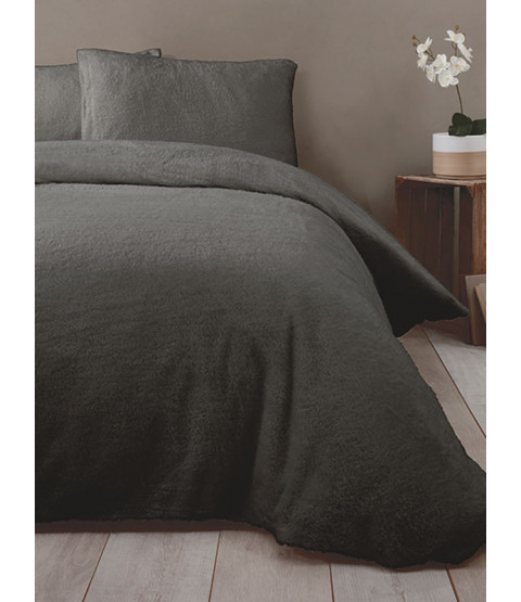 Snuggle Bedding Teddy Fleece Duvet Cover Set - King Size Charcoal