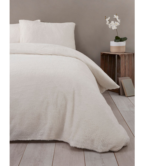 Snuggle Bedding Teddy Fleece Duvet Cover Set - King Size, Cream
