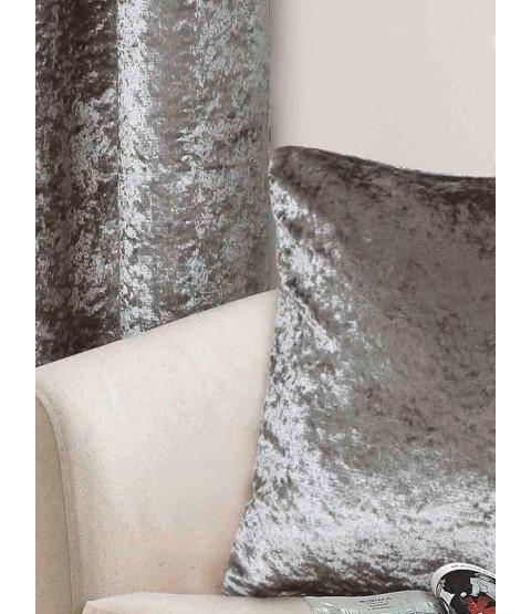 Belle Maison Cushion Cover, Silver- Crushed Velvet Range