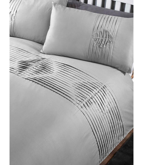 Boston Duvet Cover and Pillowcase Bed Set - Double, Grey