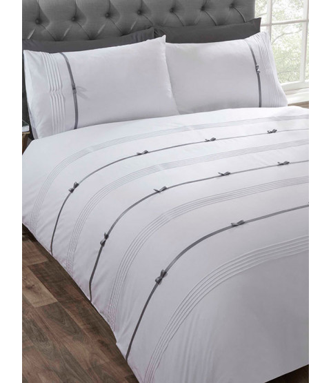 Clarissa Duvet Cover and Pillowcase Bed Set - King, White