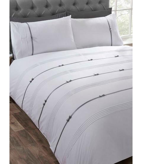 Clarissa Duvet Cover and Pillowcase Bed Set - Super King, White