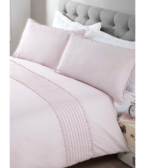 Pompom Duvet Cover and Pillowcase Bed Set - King Size, Blush