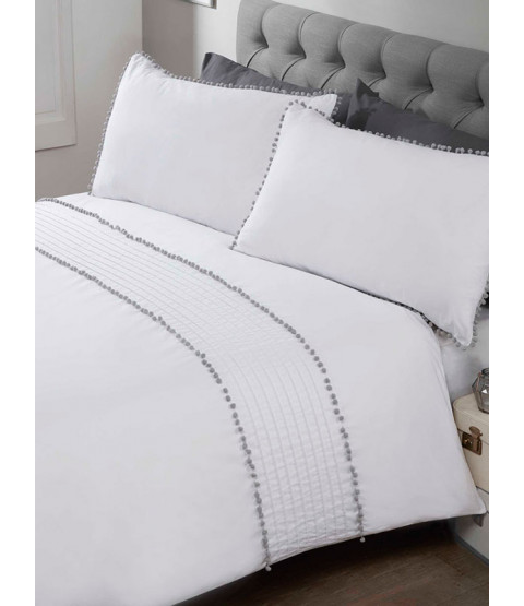 Pompom Duvet Cover and Pillowcase Bed Set - Single, white and grey