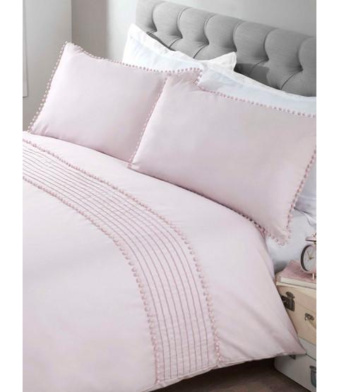 Pompom Duvet Cover and Pillowcase Bed Set - Super King Size, Blush