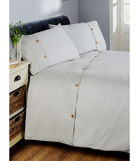 Waffle Duvet Cover and Pillowcase Bed Set - Super King, Silver