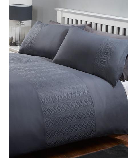 Atlanta Duvet Cover and Pillowcase Bed Set - King, Charcoal