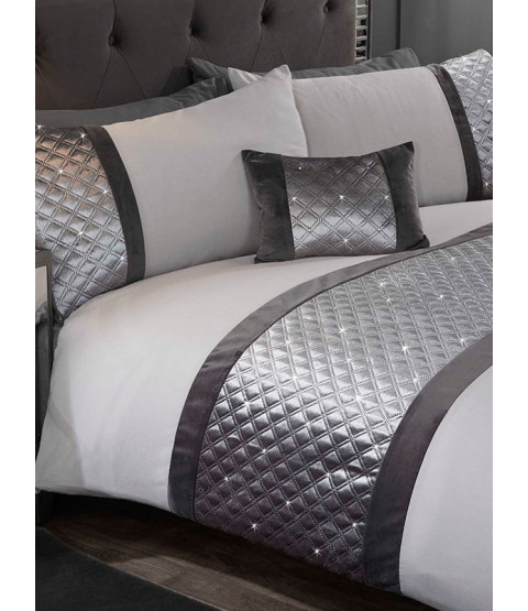 Hollywood Duvet Cover and Pillowcase Bed Set - Super King, Silver